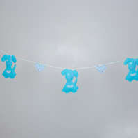 Blue puppy dog bunting with hearts Free postage within the uk