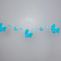 Blue dolly pram bunting garland for bedroom nursery  Free postage within the uk
