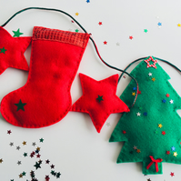 Christmas tree and christmas stocking bunting. Free postage within the uk