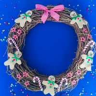 Gingerbread men and candy canes Christmas Wreath Free postage in the uk