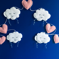 Cloud bunting with hearts Free postage within the uk