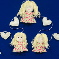 dolly bunting, dolly garland, party garland, girls, Free postage within the uk