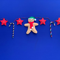 Gingerbread men and candy canes Christmas Bunting. Free postage within the uk