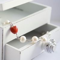 VALENTINE Accent Bracelet - pearl heart valentines day love wedding bridesmaid