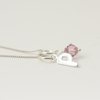 Personalised Initial And Birthstone Charm Necklace