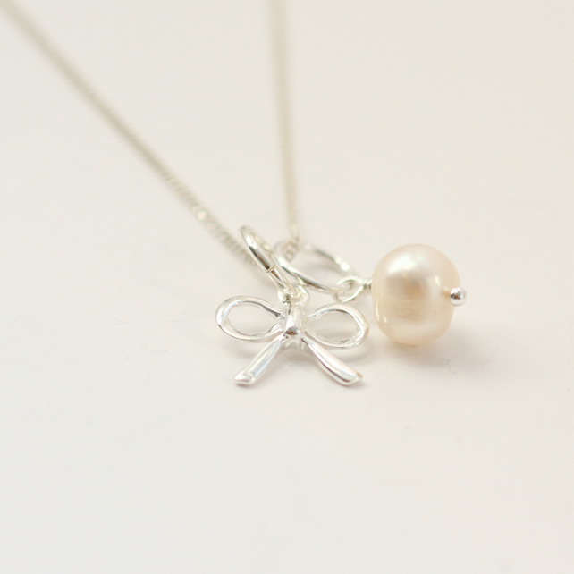 Bow and Freshwater Pearl Charm Necklace