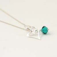 Funky heart and Birthstone Crystal Charm Necklace