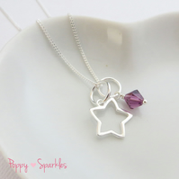 Twinkle Star and Birthstone Necklace