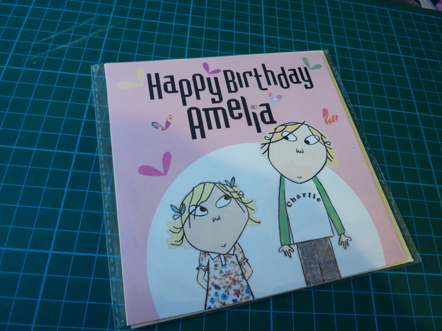 Charlie & Lola personalised birthday card - Folksy