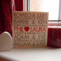 Personalised couples valentines card