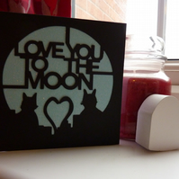 Love you to the moon cut out card