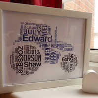 Personalised tractor word art print