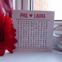 Personalised word search valentines card