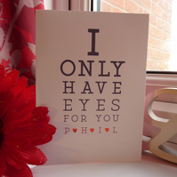 Personalised eye chart valentines card
