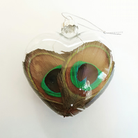 Natural feather glass heart baubles