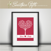Tree of Hearts Personalised Print