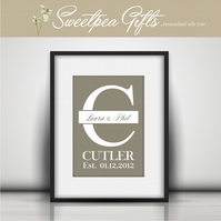 Established Monogram Personalised Print