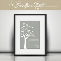 Love Birds Tree Personalised Print