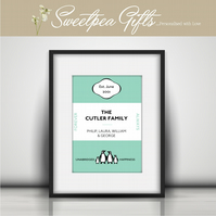 Penguin book cover personalised print