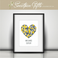 Geo Heart Personalised Print