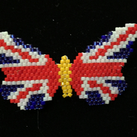 Union Jack Butterfly, Beadwoven Broach.