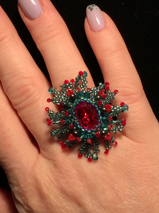 Beautiful and Stunning Swarovski Crystal Beaded Flower Ring.
