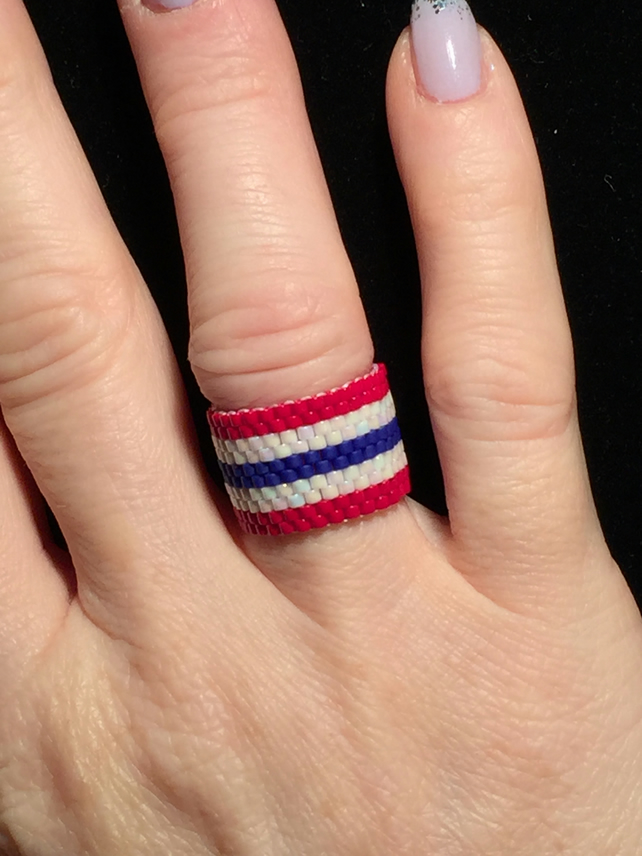 Lovely Red, White and Blue Beadwoven Patriotic Ring.