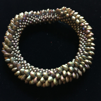Beautiful Dragonscale Beaded Bracelet - Green shades.
