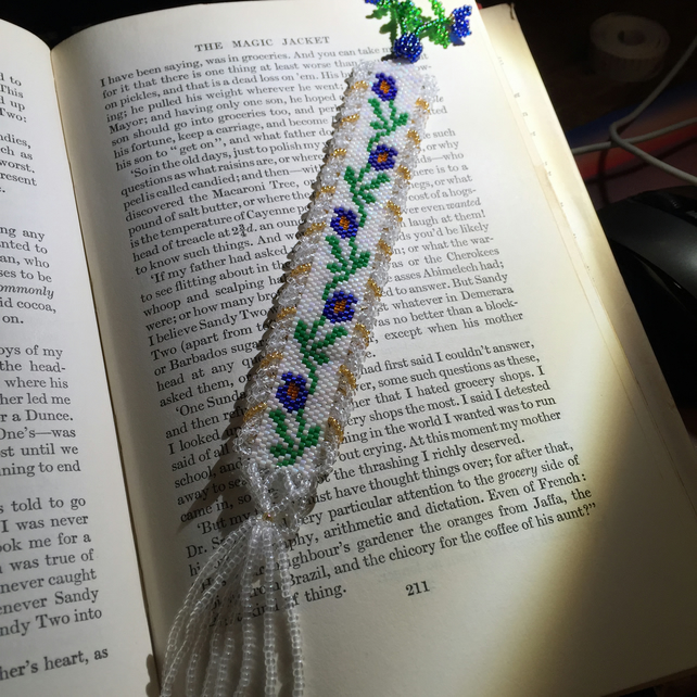 Beautiful Forget Me Not Beadwoven Bookmark