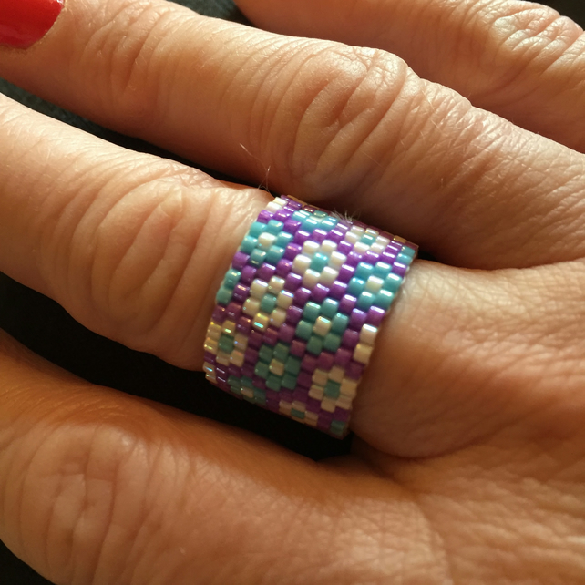 Gorgeous Beaded Spring Flowers Ring