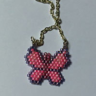 Pretty Pink Beadwoven Butterfly Pendant.