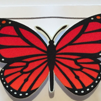 Beautiful Shrink Plastic Butterfly Brooch - Retro