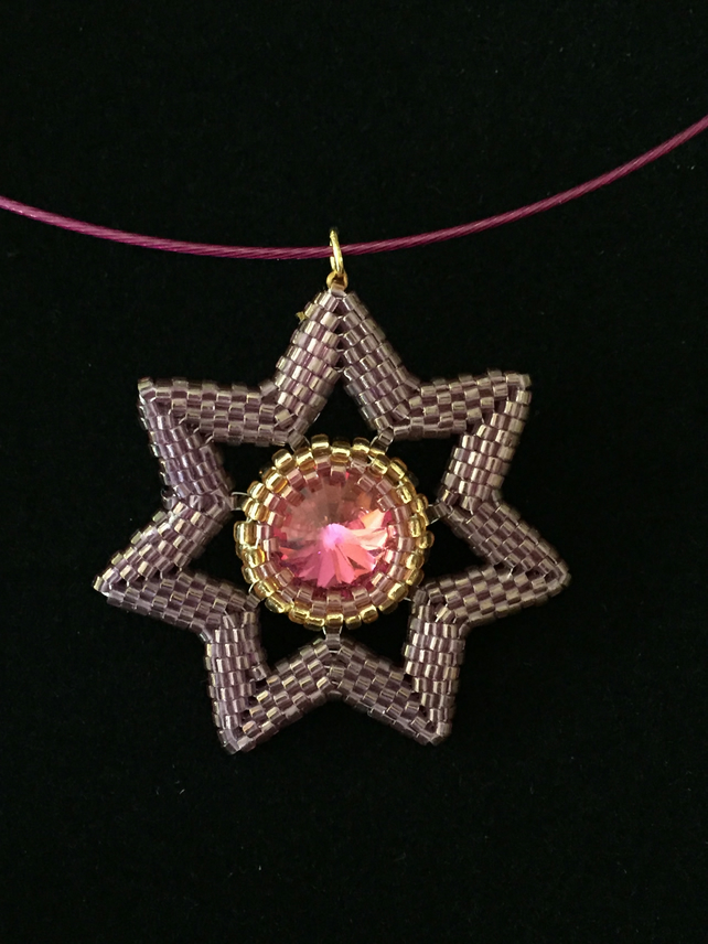 Beautiful Beaded Star Burst and Crystal Pendant in Pink.