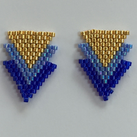 Blue and Gold Greek inspired Art Deco Style Stud Earrings.
