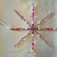 Gorgeous Pink bead decorated Hanging Star