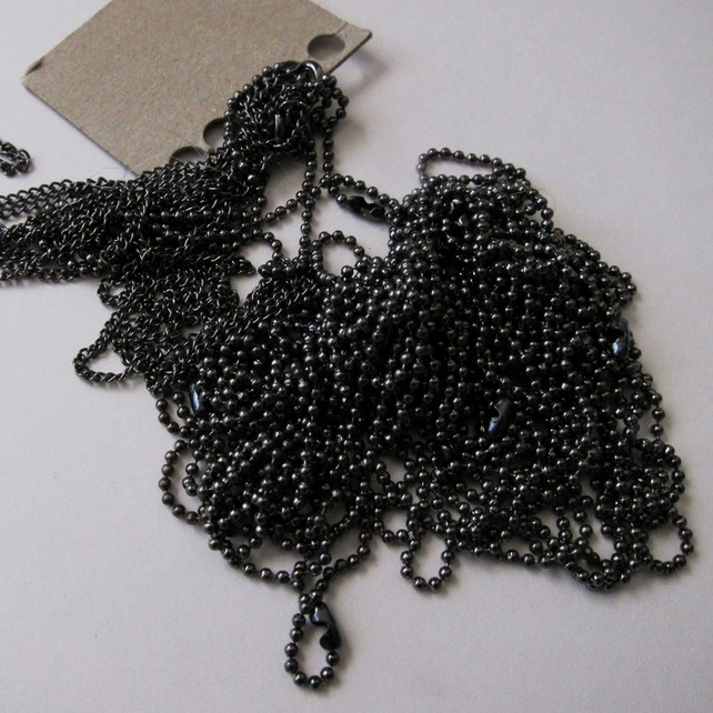 12 Mixed Black Plated Ball and Chain Necklaces Chains 18 inches 45 cm