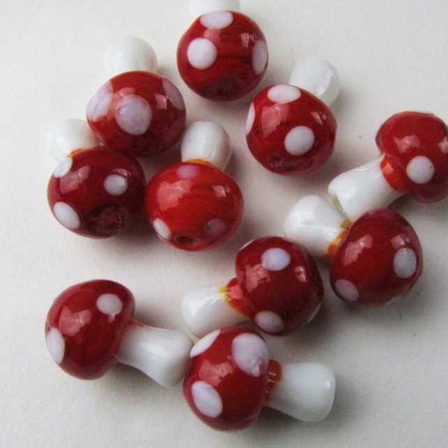 10 Glass Tiny Mushroom Beads Toadstools Glass Lampwork