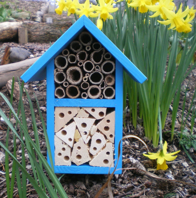 Two Tier Bee House, in 'Cool Azure'.