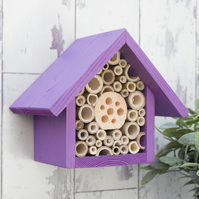 Mason Bee House, Bee Hotel, Single tier, in 'Purple Pansy'