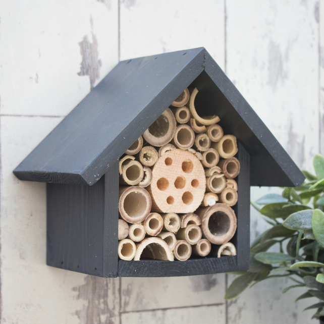 Mason Bee House, Bee Hotel, Insect House in 'Urban Slate'. Single Tier