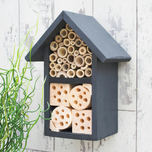 Solitary Bee House, Ladybird House, Bee Hotel in 'Urban Slate'. Two Tier