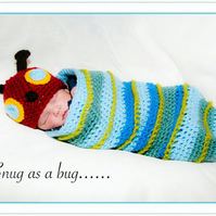 Crochet Caterpillar Hat and Cocoon Set