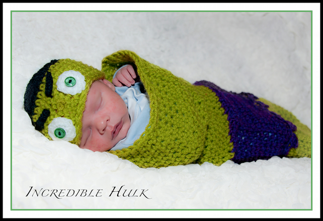 Crochet Incredible Hulk Hat and Cocoon Set