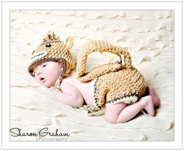 Crochet Sock Monkey Hat and Diaper Cover with Tail.