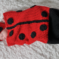 Crochet Ladybug Hat and Cocoon Set