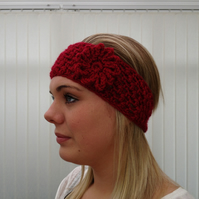 Girls Crochet Red  Headband Earwarmer Newborn To Adult.