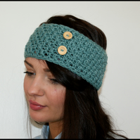 Textured Crochet Headband Earwarmer with Wooden Buttons.
