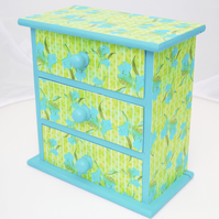 Chest of drawers Jewellery Box- Tropic Green Lily