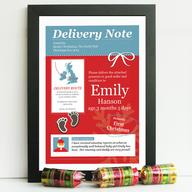Personalised Baby's First Christmas Gift - Santa Delivery Note