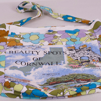Unique  One of  Kind Upcycled Tea Towel Bag - Scenes of Cornwall